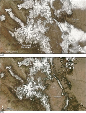 Figure 2 displays the San Juan Mountains on April 12, 2005 and April 12, 2006 respectively. The 2006 image shows a reduction in the snowpack's spatial extent compared to the 2005 image–Courtesy of NASA