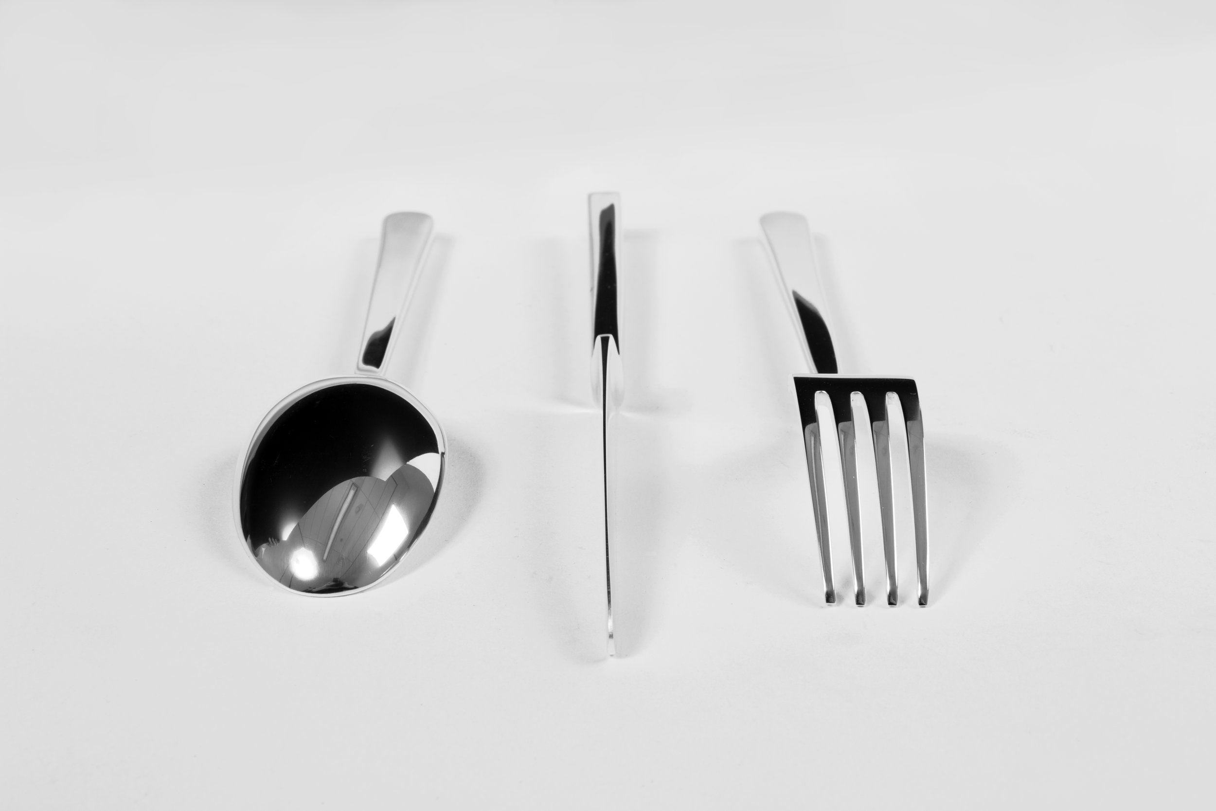 Flatware  | 100% handmade. Cut, hammered, filed and polished flatware prototypes. | Brass, Silver-plated | © Phat Design