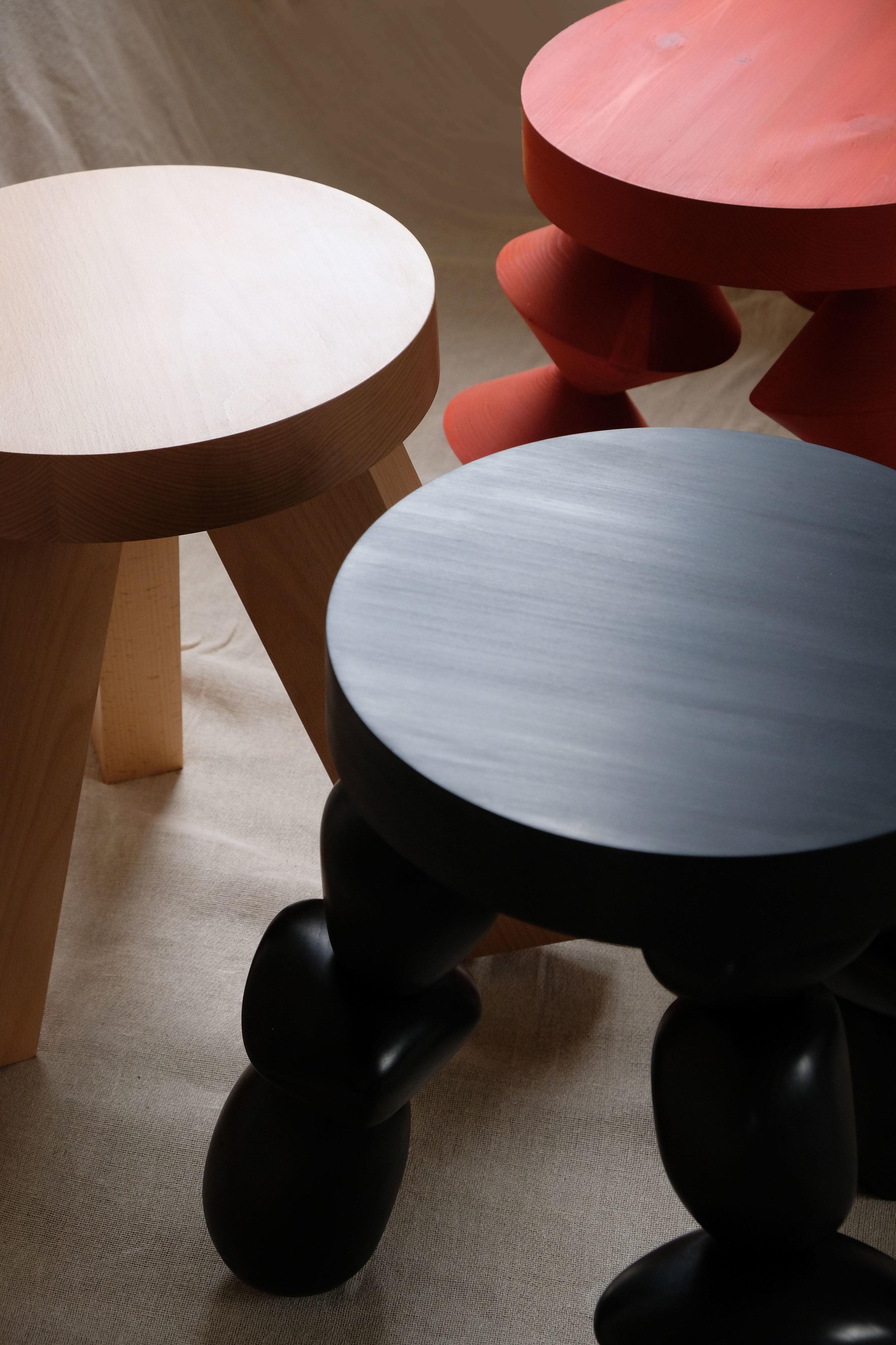Primitive Forms  |  White Stool, Black Stool, Red Stool  | White Beech, Birch, Redwood | © Phat Design