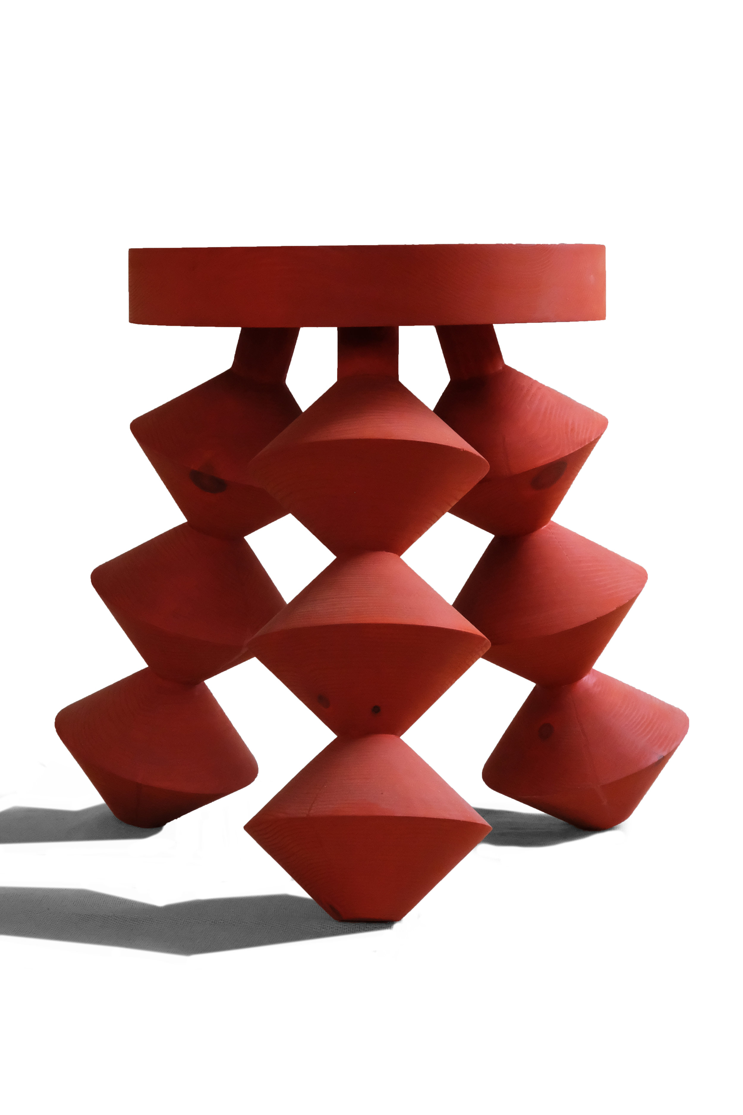 Primitive Forms  |  Red Stool  | Red Wood | © Phat Design