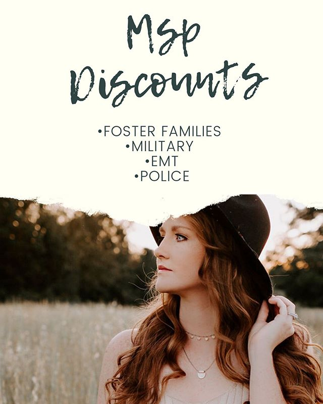   D I S C O U N T S    Know someone who could benefit from any of these discounts? Tag them 🥰  Feel free to share to tell all your foster family, EMT, military, and police friends!  Thank you all for what you do!👏🏻❤️