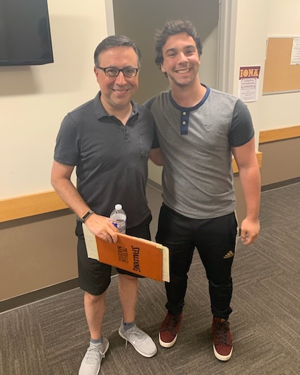 UCTV Sports: Summer Member Update!  @josh_schlac meeting a legend of the sports broadcasting industry, Ian Eagle (Brooklyn Nets and NFL on CBS Broadcaster) at the Bruce Beck Sports Broadcasting Veteran Camp!  Josh is looking forward to bringing skills from this week of learning to @uctvsports in the fall!