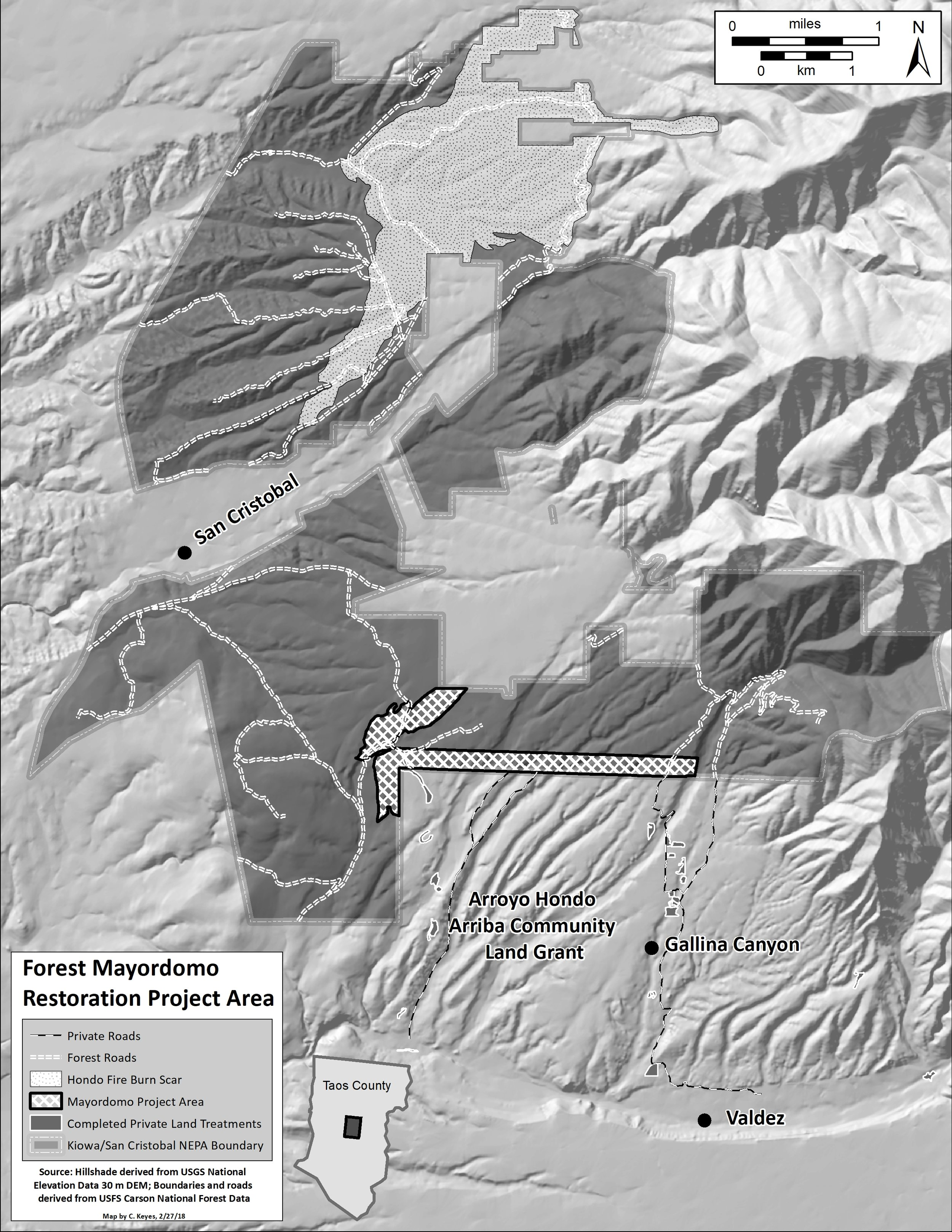 Forest Mayordomo CFRP project site - The 300 acres to be thinned by the Forest Council and participating leñeros is located north of Valdez, within the Carson National Forest. The project area includes limited access from the south via Gallina Canyon Road and Turkey Springs Road as well as public access from the north via Forest Road. Click here to download a full-size copy of this map.