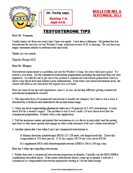 Bulletin 6: Testosterone Tips