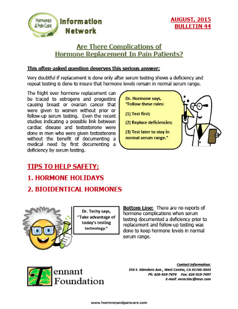 Bulletin 44: Are There Complications Of Hormone Replacement In Pain Patients?