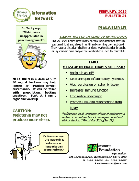 Bulletin 51: Melatonin Can Be Useful In Some Pain Patients