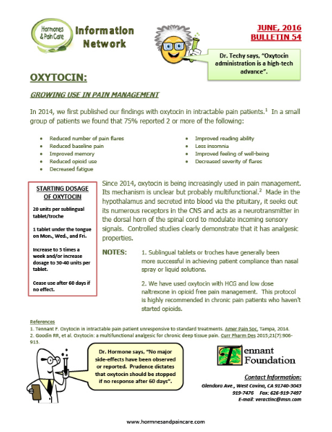 Bulletin 54: Oxytocin: Growing Use In Pain Magement