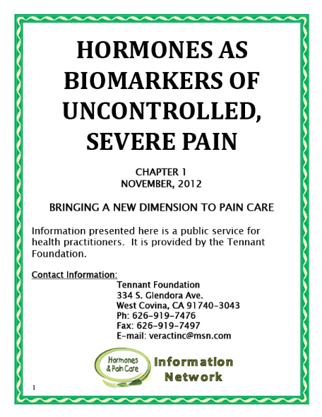 Chapter 1: Hormones As Biomarkers Of Uncontrolled, Severe Pain