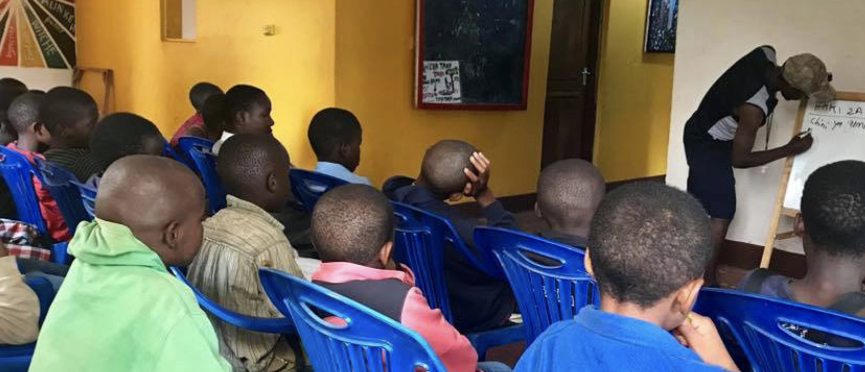 Here are the kids during one of their educational sessions.