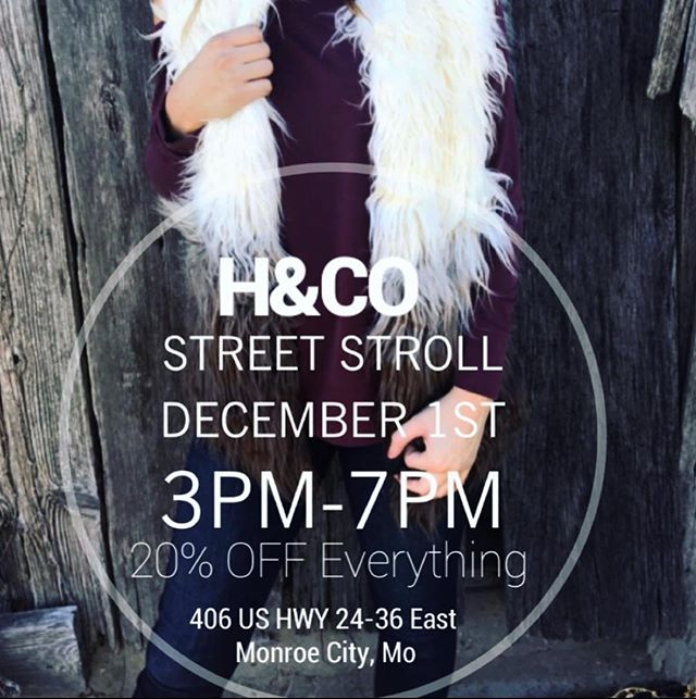 Come see us this Saturday from 3pm-7pm during Monroe City Street Stroll! Everything will be 20% OFF! 🎄