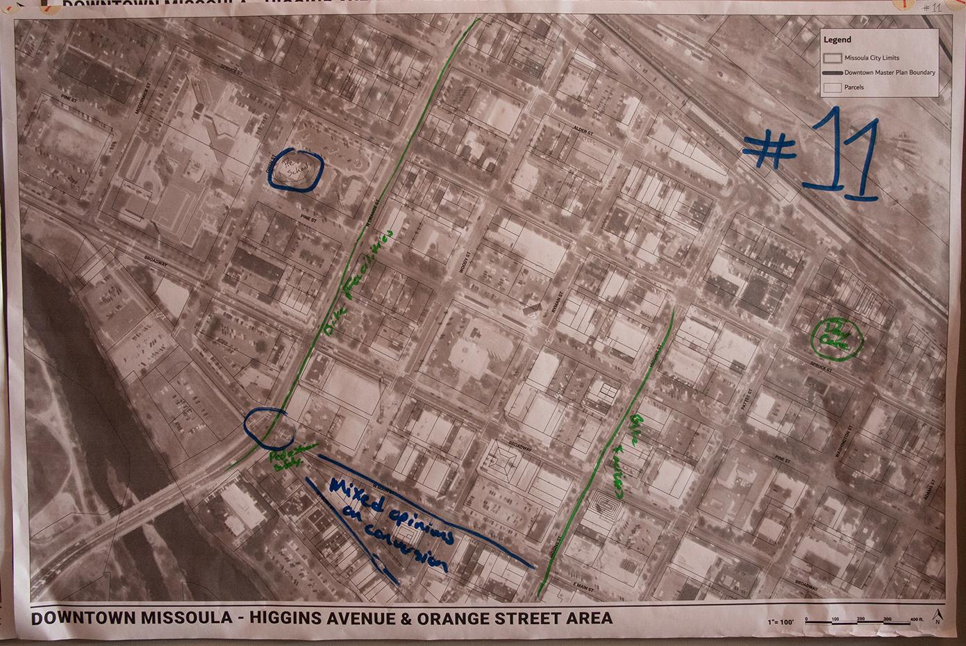 A map of Higgins Avenue & Orange Street Area