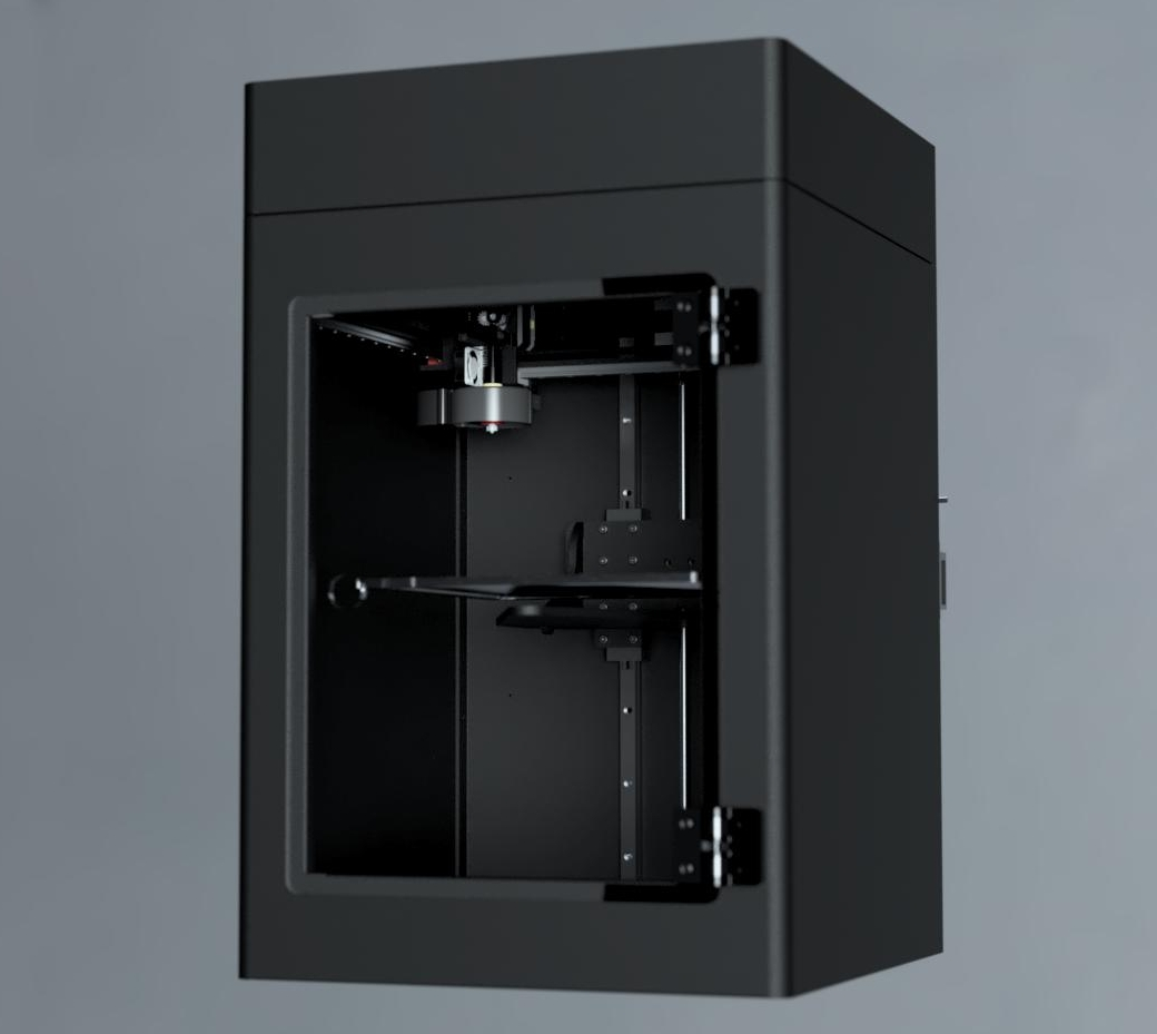 """Plus Pro - The Plus Pro was an exercise in imagining what a fully enclosed, """"dropping-Z"""" would be like all dressed up in a business suit. The AC heat bed heats the entire inside volume to the point that you sometimes have to print with the door open. With the 24V, 90 Watt Ubis High Temp. hotend, this printer can handle anything, even PEEK and Ultem. It is a workhorse.Build Volume: 10"""" x 10"""" x 14""""First released 2017"""