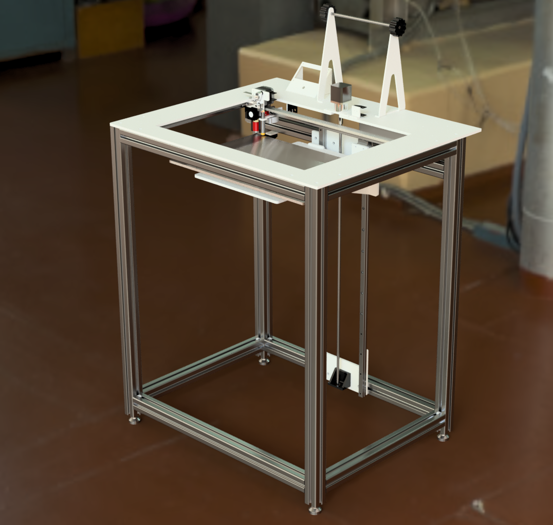 """Model 3 - The Model 3 is a large format 3d printer that was influenced by the fact that I had a waterjet and didn't want to do a lot of folded metal parts. It does have over 200 little tweaks in the design, so it is quite mature. It takes many many hours to build. Simple is hard.This is designed to be shipped as a flat-pack printer to save shipping cost.Build Volume: 18"""" x 12"""" x 24""""First released 2017"""