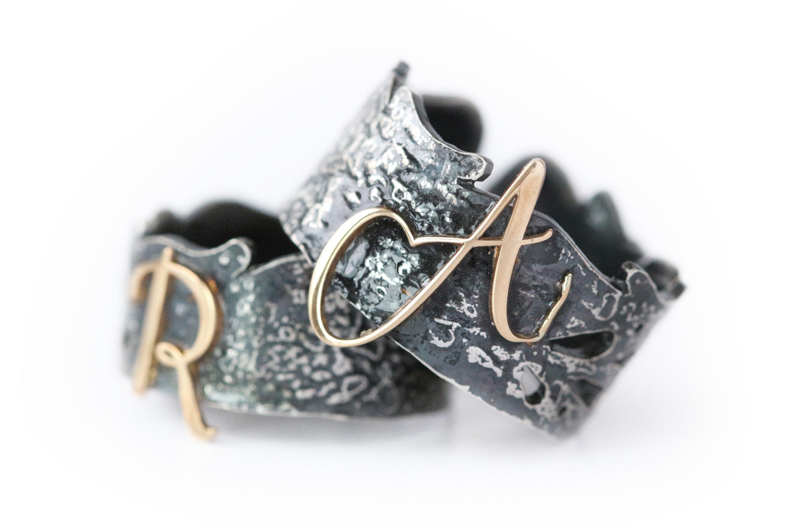 Vesta Monogram Ring - Antiqued  Click here to shop