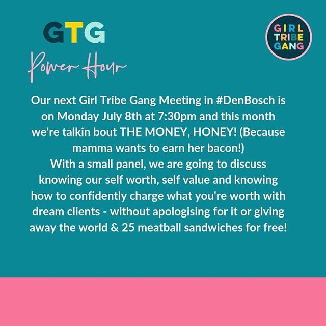 "Summer is here ladies! But before we swander off into the breezy beach bikini lifestyle for a month, we have 1 more #denboschgirltribegang event on July 8th, 7:30pm on level 1 @zoetelief.nu and this month we'll have a small panel leading the power hour where we'll be talking about the money honey!! Namely about how to see our own worth, understand the value we bring with our business & how to charge what you're worth - confidently & without apologising or pulling our pants down with discounts ""just to get the client"" and giving the world away for free.  Because YOU are amazing, YOU bring something unique and special to this world & YOU deserve to be paid what you're worth while swimming amongst & working with dream clients!  So make sure you go clickety click on the link in my bio to secure your spot.  Tickets for this event are for FREE!  See you there with a vino in my hand!!"