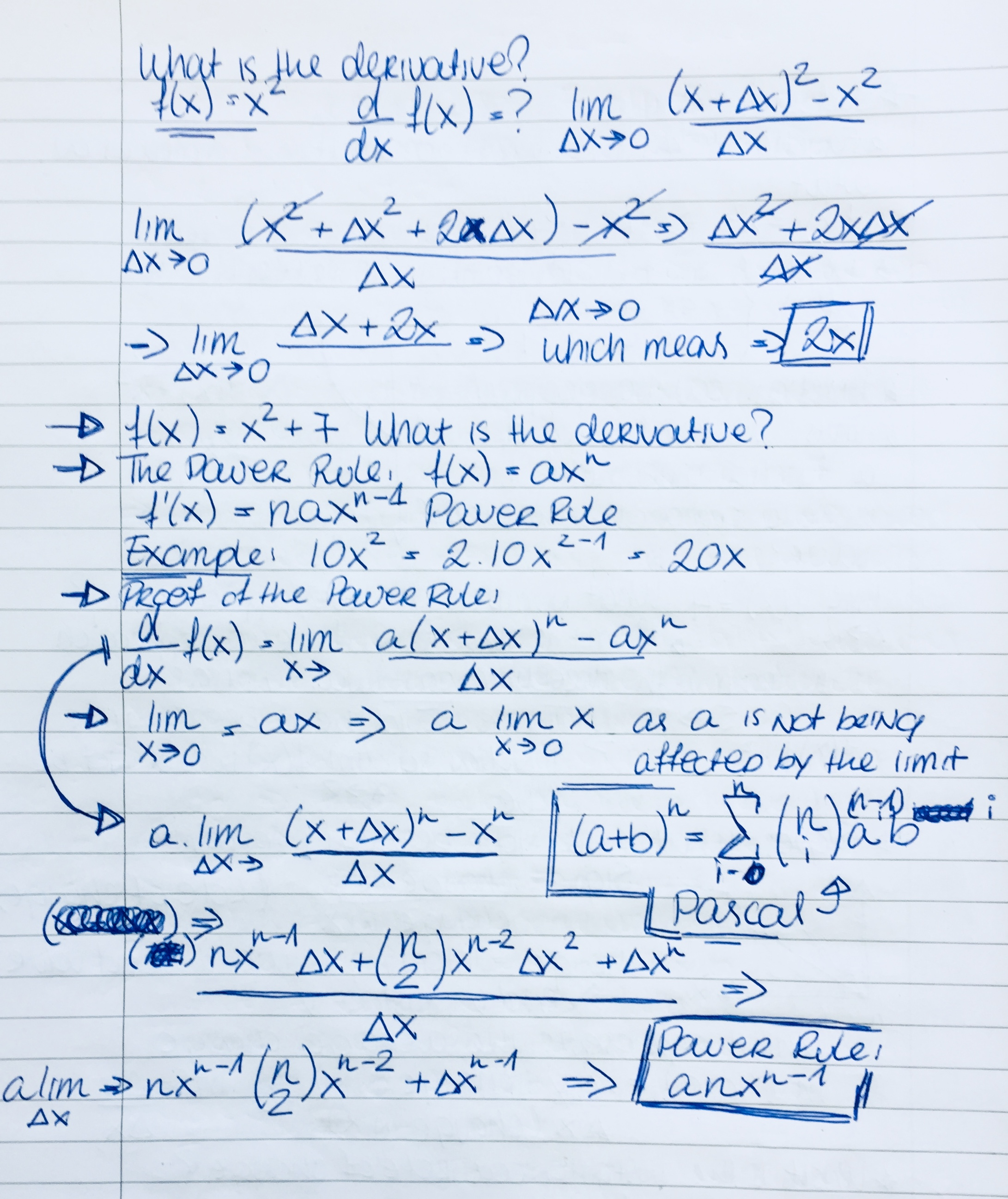Handwritten notes from the Calculus portion of the Tech Workshop
