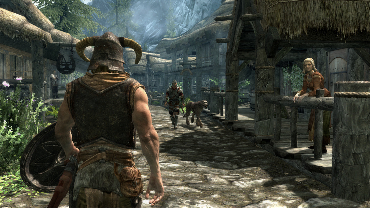 Example of a Third-Person Camera Angle in Skyrim. Nearly 1/3 of the screen is occupied by the character, which is not ideal for As It Lies, which needs to give you an accurate view of the surroundings.