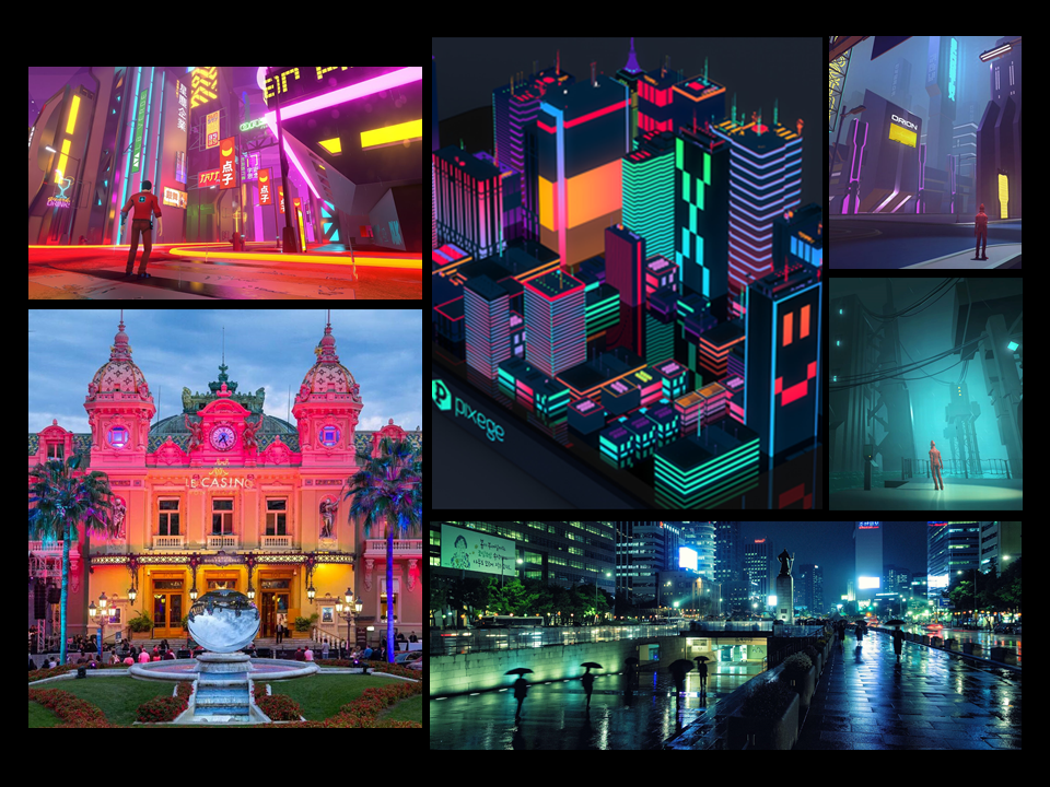 This Mood Board Illustrates what the city would look like during dusk and night time. It would be quite colorful and illuminated as the city the action takes place is is a rather popular tourist destination.