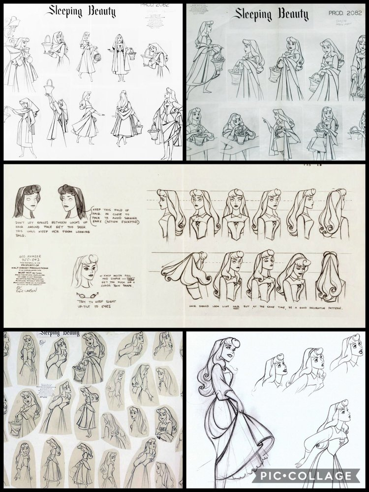 Character Sheets and Concept Work for Aurora, showcasing the soft and curvy lines Disney tends to prefer.