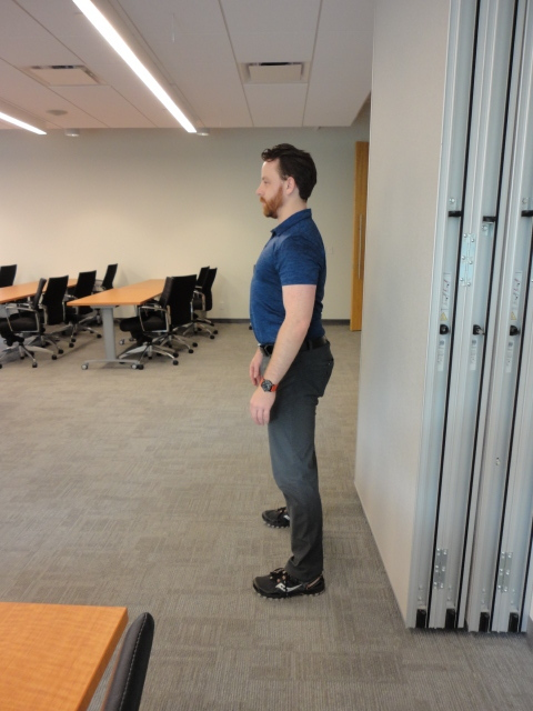 Set up:  stand near a wall. About a foot away from it.  Contract your core and pull your shoulder blades down and back.