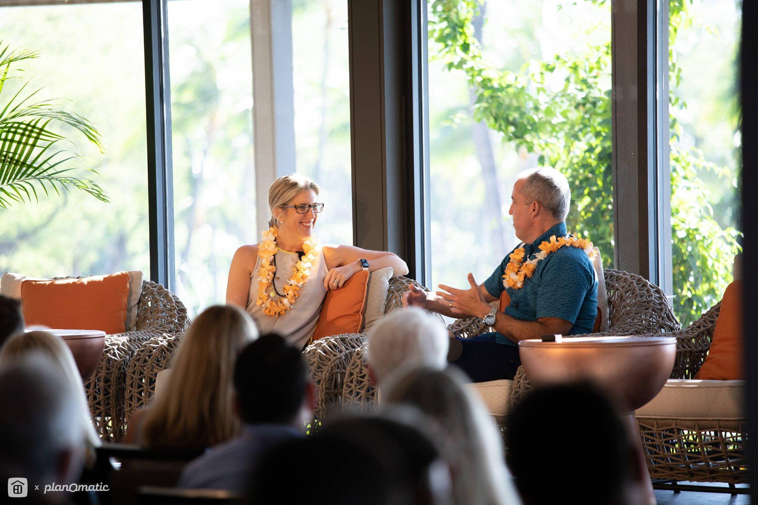 Stephanie Anton, President of Luxury Portfolio International® talks story with Hawaii Life CEO & Principal Broker Matt Beall.