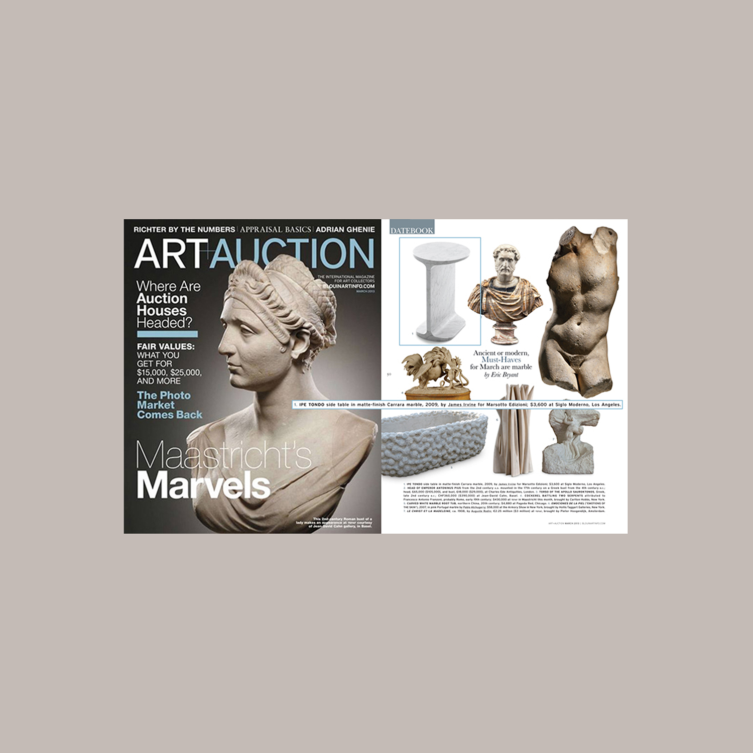 ART + AUCTION - DATEBOOK   March 2013