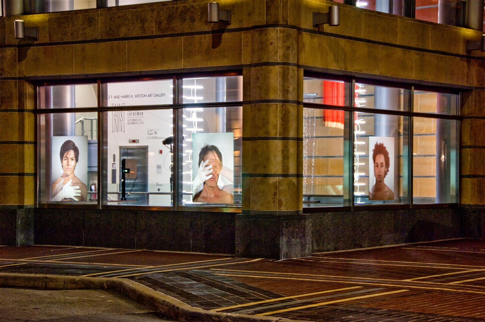 "ASFALLSBUKKAKESOFALLSBUKKAKEFALLS   rotation of any three: Gad, APL & Alex, JoJo, Simmi, and Julian - each edition of 3  video projections on windows; interior & exterior  3 video projectors, approx. 00:30:00 loop each  48"" x 36"" image / 2012"
