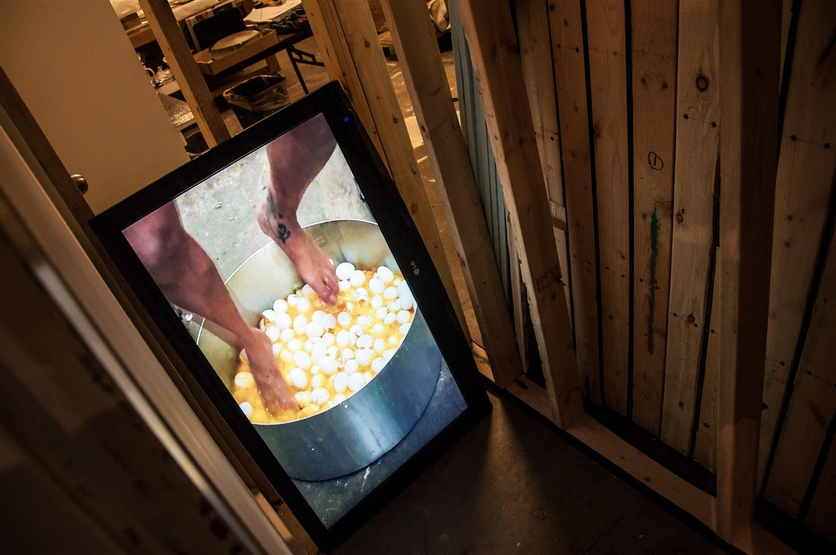 "Egg Wine   video loop installation, 42"" monitor  / 2012"