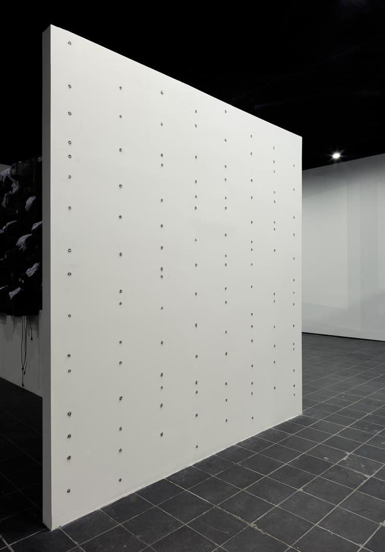 Stud Finder  - wall installation - Columbus (Ohio) College of Art & Design, 2013  magnets, steel wool  dimensions variable