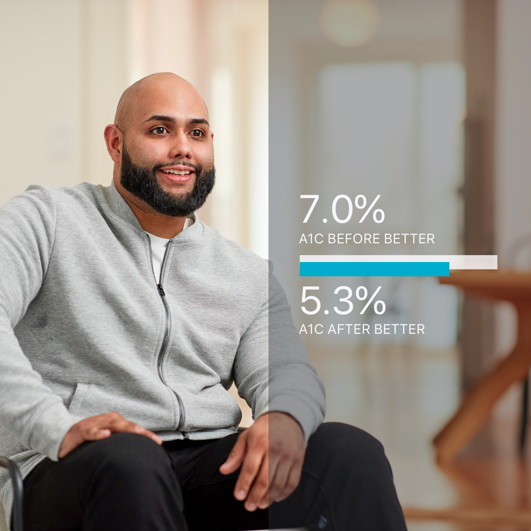 """""""My A1c went down by -1.7%."""" - And I was taken off of medications for diabetes, high blood pressure, and high cholesterol.- Moises, 32, New York"""