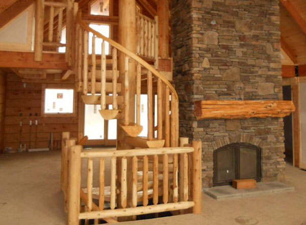 Double Floor Spiral Log Stair