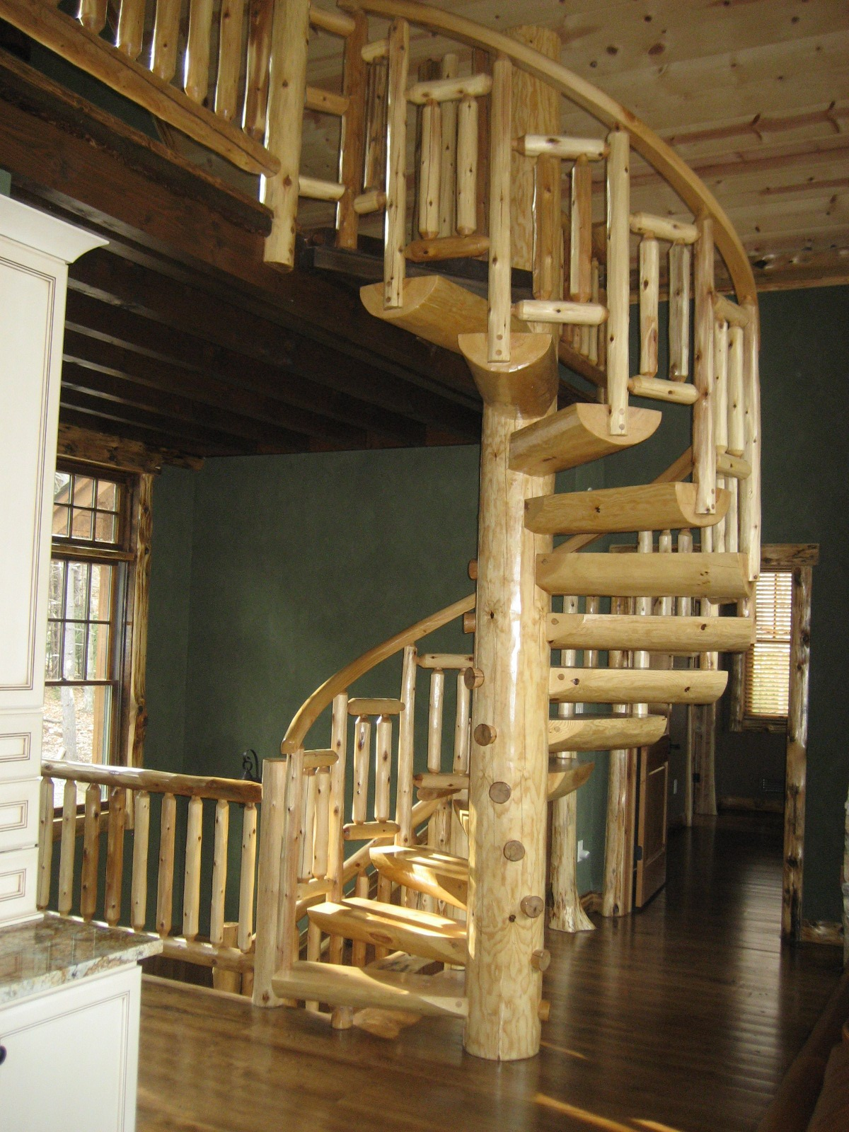 Exposed Spiral Log Stair