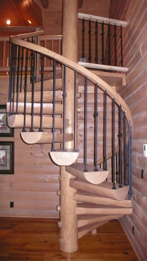 Spiral Log Staircase with Metal Railings