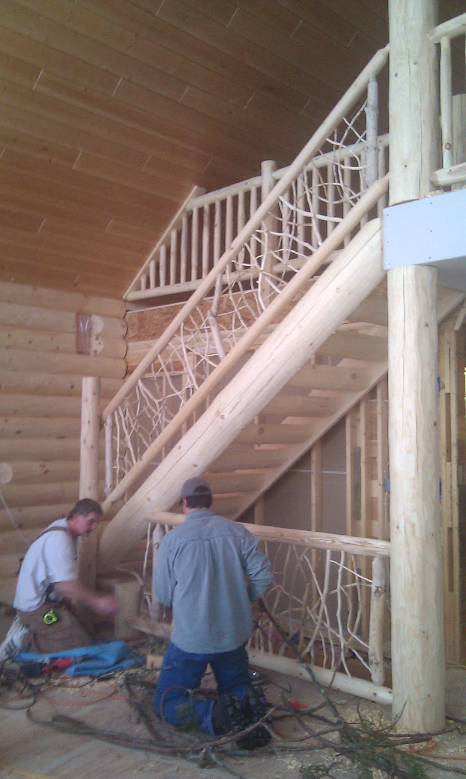 Mortise & Tenon Log Stair v6