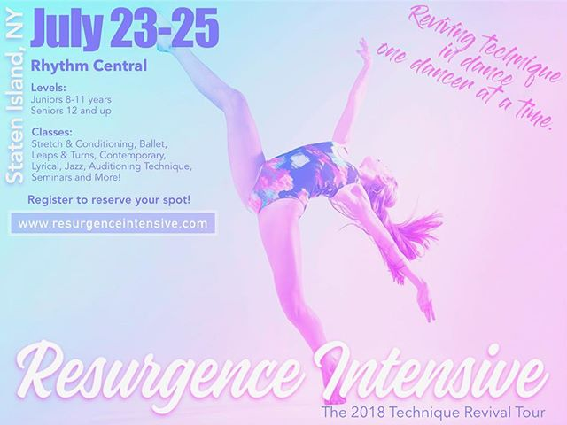 The Resurgence Intensive is returning to Rhythm Central! Sign up now at www.resurgenceintensive.com to participate on July 23rd-25th **space is limited** Senior classes run from 10am-4pm and Junior classes run from 11:30am-4pm, to see the full schedule check out: @resurgenceintensive