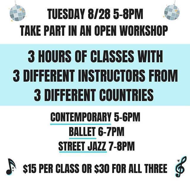 Tuesday 8/28 you have the chance to participate in a 3 hour open workshop with instructors from all around the world! Join us at the studio from 5-8pm with @ughettap teaching contemporary, @aliceoakleyjones teaching ballet, and @sarahlouisebk teaching street jazz! It's only $30 for all three classes or $15 for one class. Send us a message with any questions and we look forward to seeing you Tuesday!!