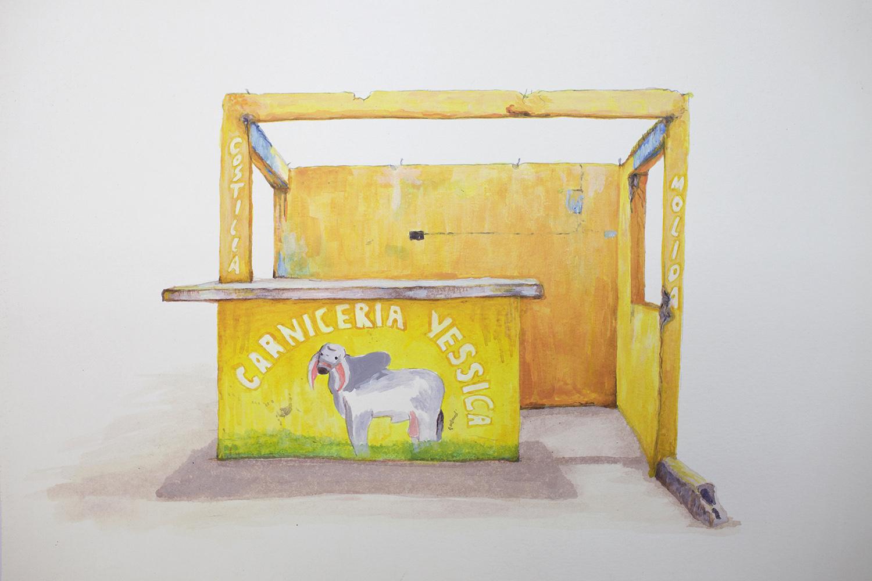 Carnicería Yessica   2018  Acrílico sobre papel  35 x 50cm