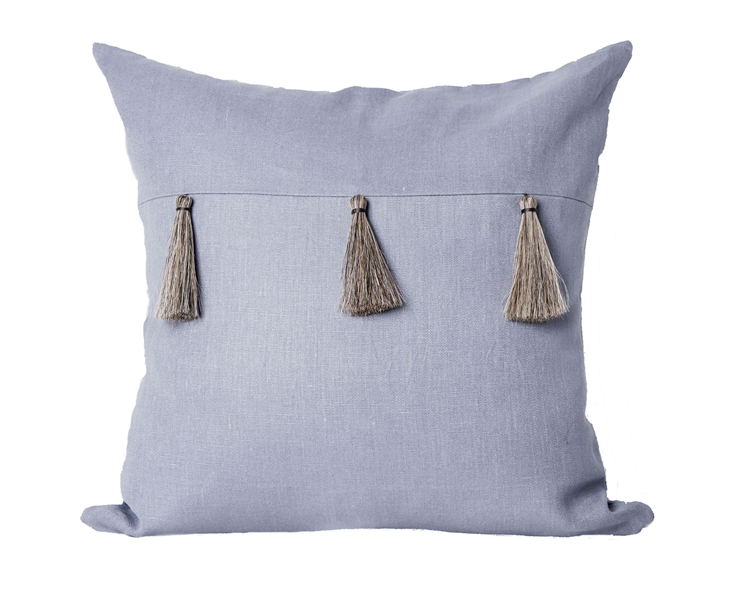 HORSE HAIR TASSEL I 100% LINEN I AVAILABLE IN SIZES 20X20, 22X22, 24X24  Designed in Collaboration by Cannon Schaub & Anita Csordas