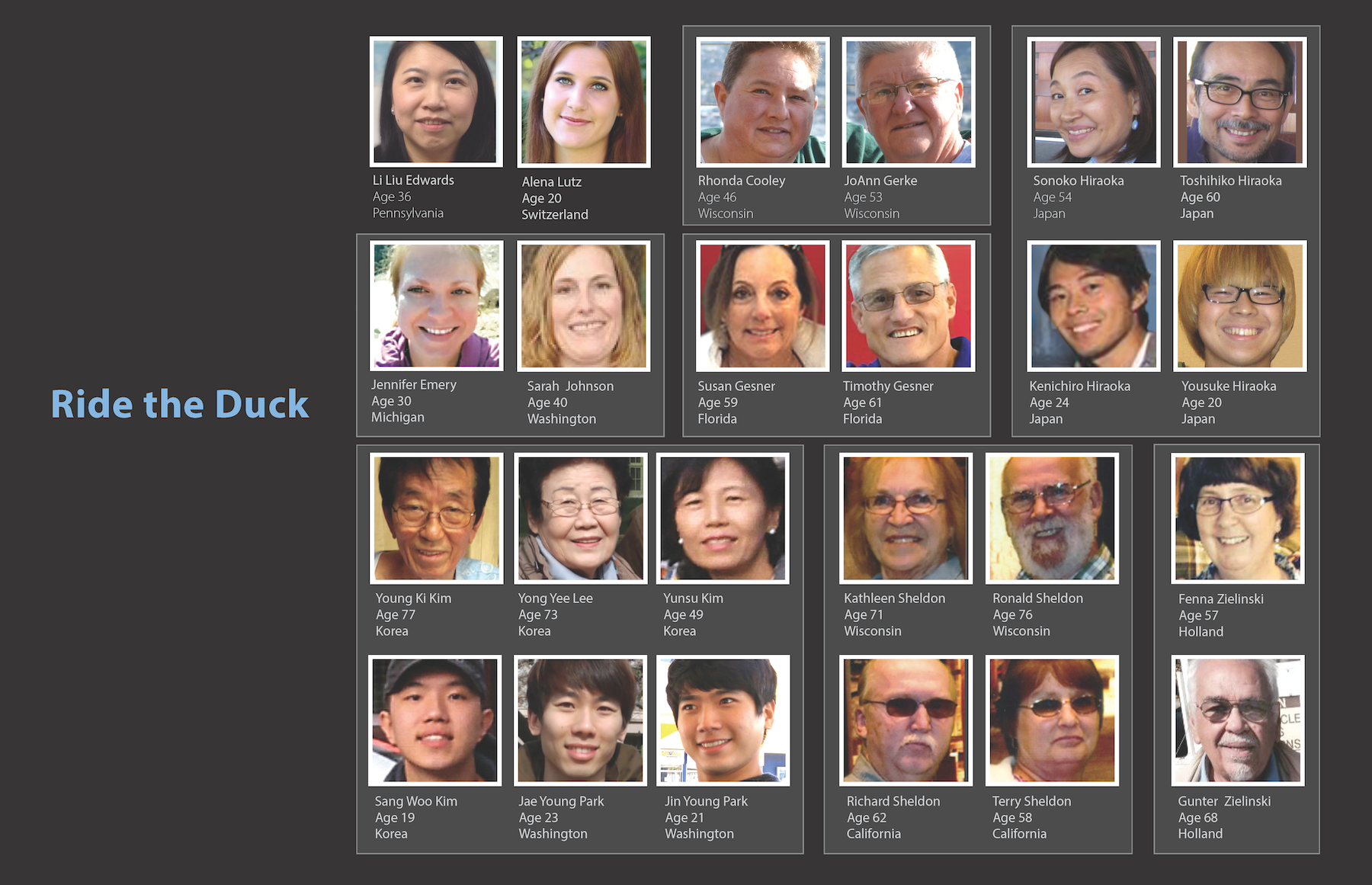 Photos of plaintiffs who were passengers on the Ride the Ducks Seattle vehicle. Please click photo to enlarge.