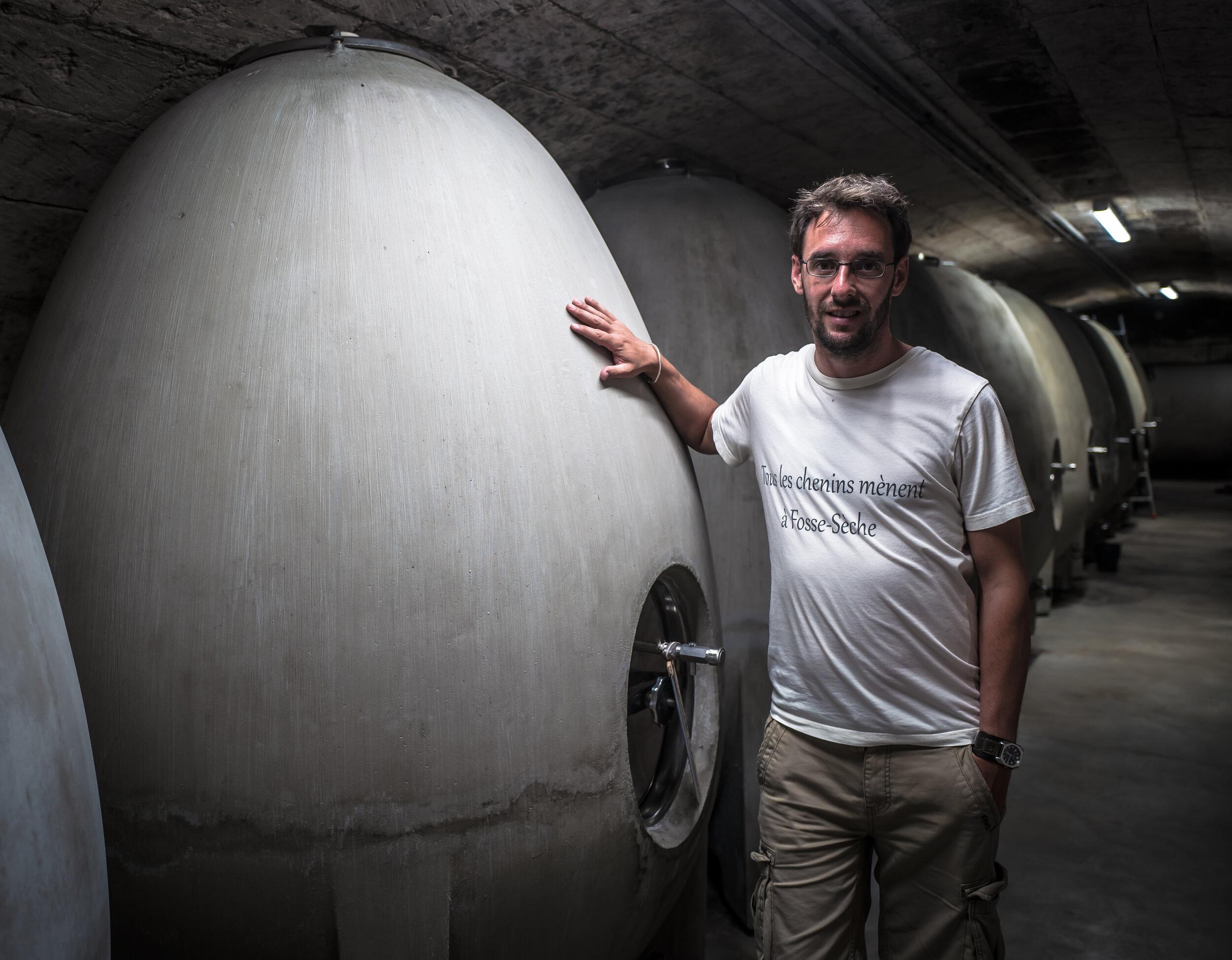 Adrien Pire with the concrete egg tanks
