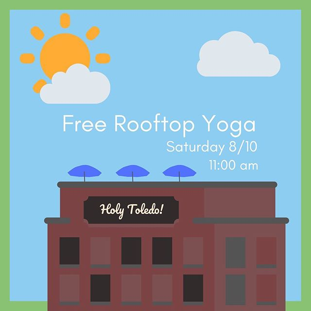 LOCATION CHANGE:  HENSVILLE YOGA TOMORROW AT 11AM IS ON THE ROOF OF @holytoledotavern! • Be AWARE: there's A LOT going on downtown tomorrow, which is super cool! BUT this means you need to plan ahead and parking won't be a headache then. Come downtown early, get a parking spot (be aware of road closures), head to the Farmer's Market, get coffee then make your way to yoga! • @mudhens staff will be around and can direct you to the roof. • AND stick around after class at Holy Toledo Tavern because they're offering us great discounts!
