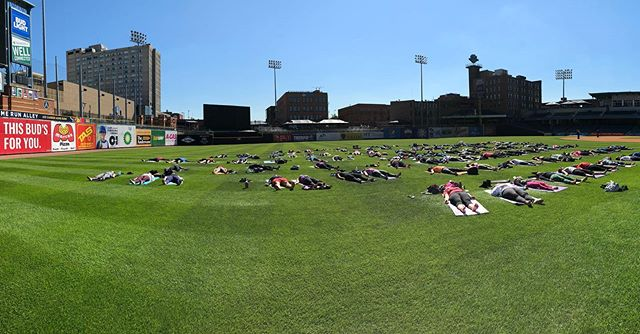 "Who's ready to go ""take rest"" in the Outfield Of Fifth Third Field THIS SATURDAY?! • Sign up at: HensvilleToledo.com • NEW ticket option: $8 for just the practice at 11am. • $15 gets you the #OmintheOutfield ticket and a @toledowalleye game ticket! • Post-practice specials @holytoledotavern !!! • #yoga #namasteintoledo #youwilldobetterintoledo #yogisofinstagram #toledo #downtowntoledo"