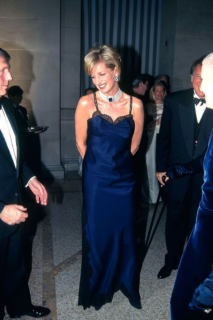 Princess Diana attends the Met Gala wearing Dior by John Galliano