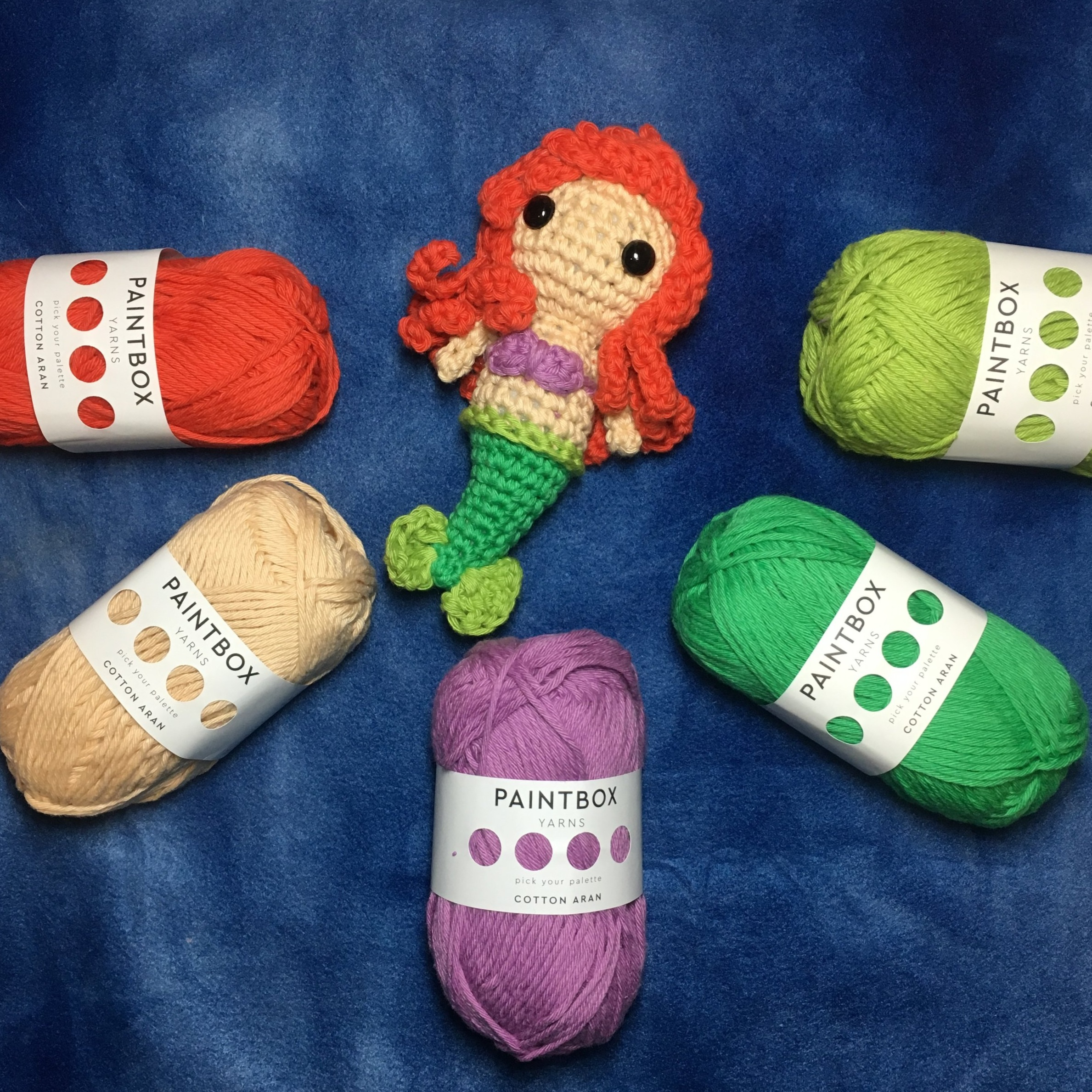 My Beautiful Ariel made using Paintbox yarns, cotton aran. made using the pattern for marlie the mermaid.