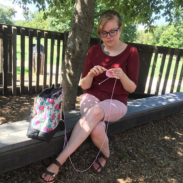 Dear #Oklahoma thank you for the beautiful park weather. The littlest Bitsy and I are out having a wonderful park adventure! I've got my @betseyjohnson purse full of #yarn and a #narwhal on the hook! 🌞🌞🌞 #funfact I helped build this park when I was in 7th or 8th grade with a small group from my junior high. Pretty fun. We didn't do a lot past staining wood and holding things since we were young. Even small things are something. What's something you look back on that may be small, and still made a large impact on your life? ☀️☀️☀️ #volunteer #whale #park #crochet #whales #crocheting #crochetaddict #donate #humpback #trees #whalewatching #crochetlove #causes #dogood #yarn #activism #amigurumi #giveback #crochetersofinstagram #charity #volunteers #dogoodfeelgood #makeadifference