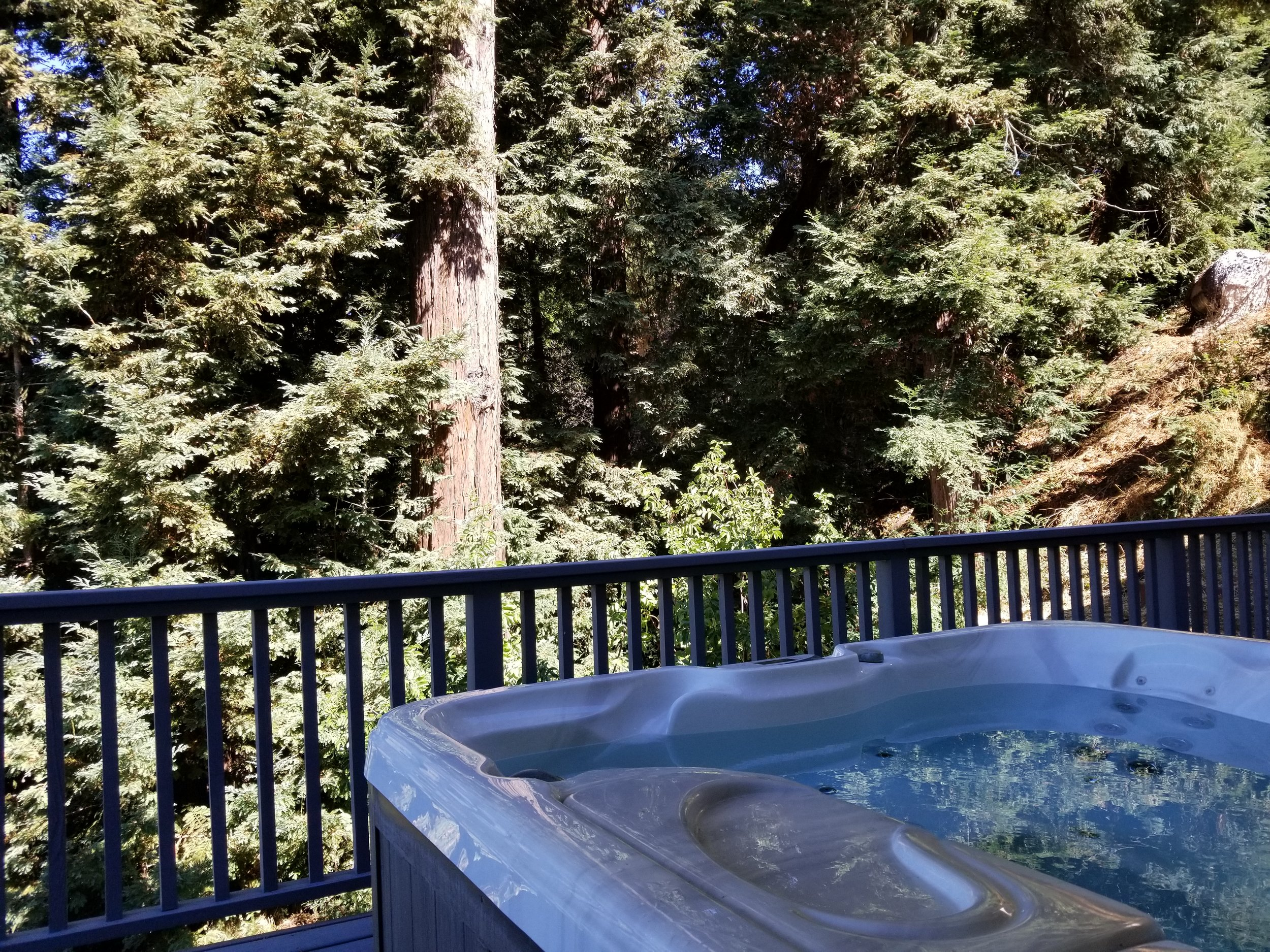 Private hot tub on shared deck accessible from Sage and Aspen rooms.