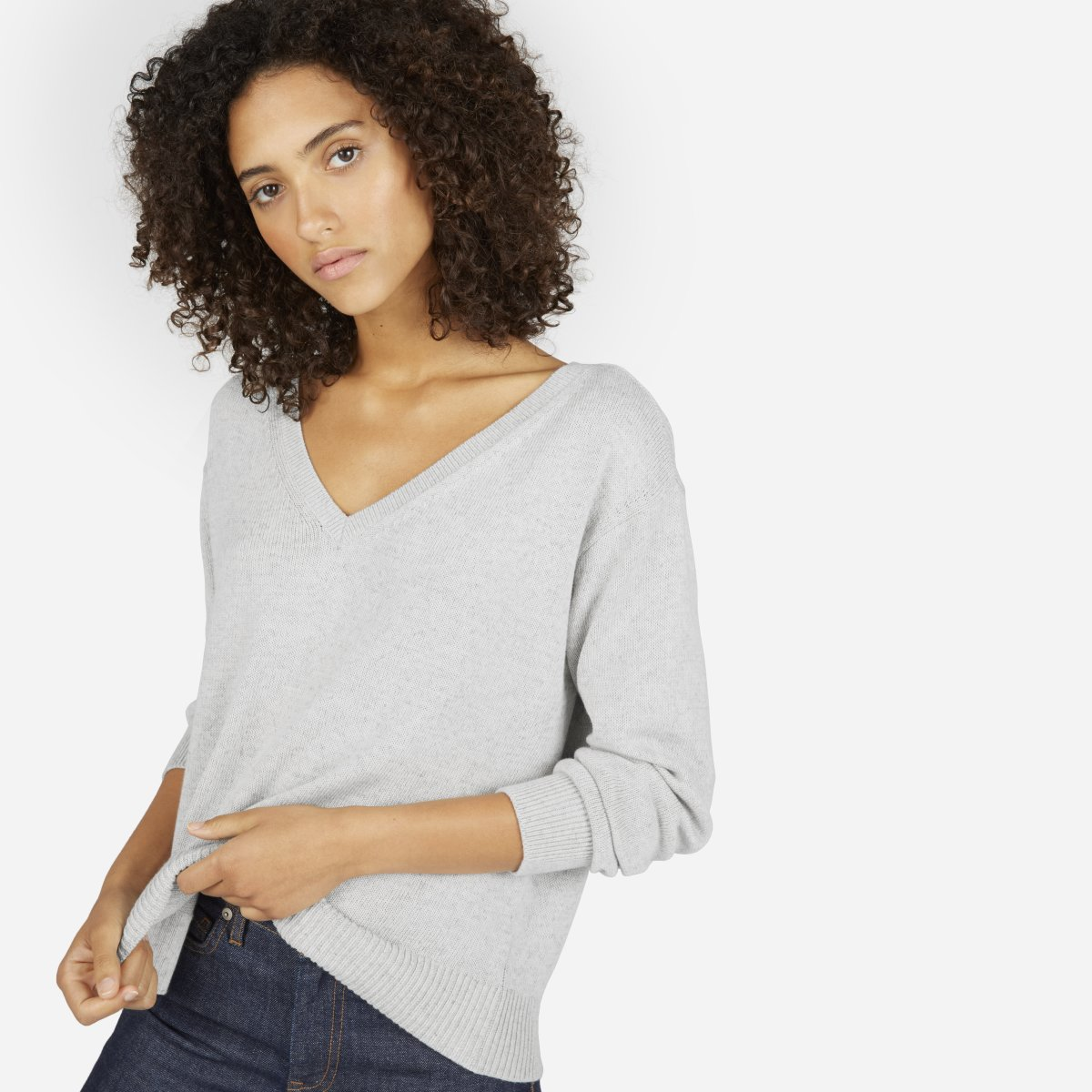 Women's Cotton Long-Sleeve V-Neck Crop | $50