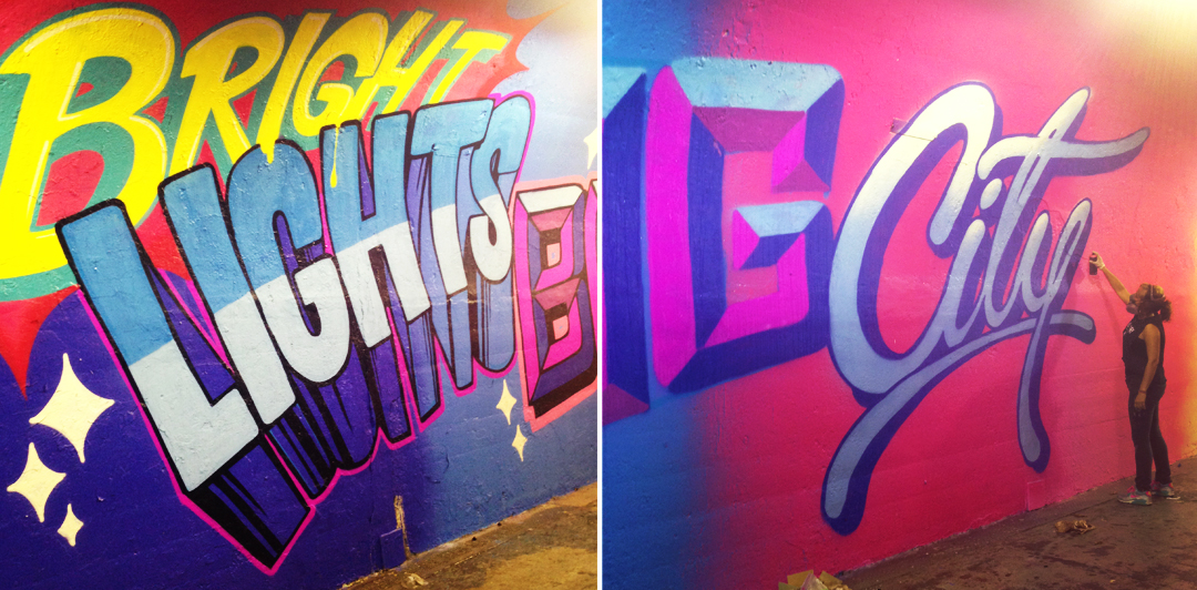 "Detail of Andrea's ""Prismatic Power Phrases"" mural inside the 191st St subway station tunnel, NYC"