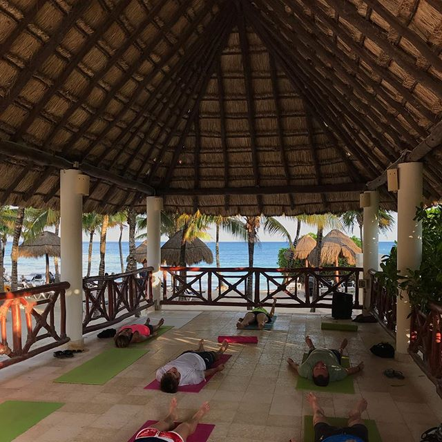 Some beach front yoga or naps 😉 after pickleball today 🏝 🇲🇽