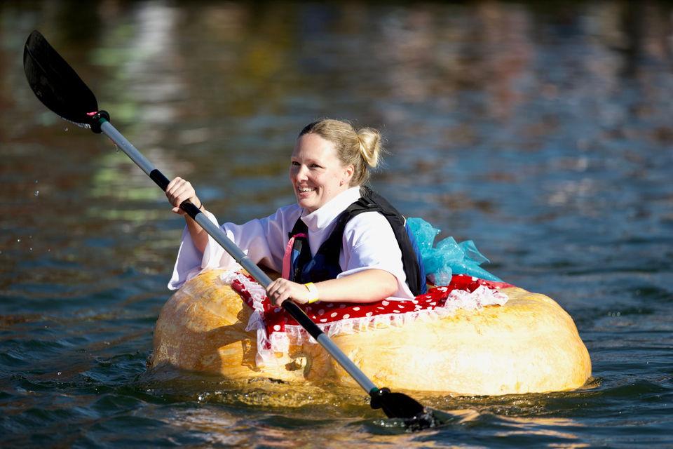 OCTOBER 21, 2018 - People race in 1,000-pound floating pumpkins for Oregon's Giant Pumpkin Regatta